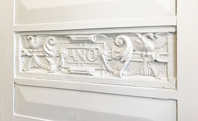 historic carvings preserved in Alexander House Hotel bar