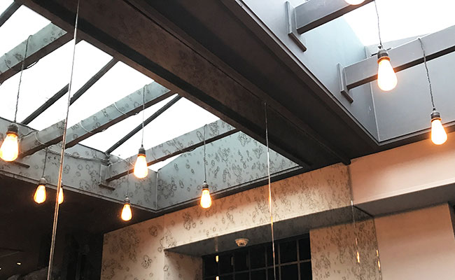 skylight in The Coal Shed Brighton restaurant