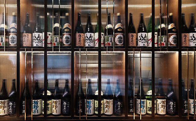 sake display at Anzu London