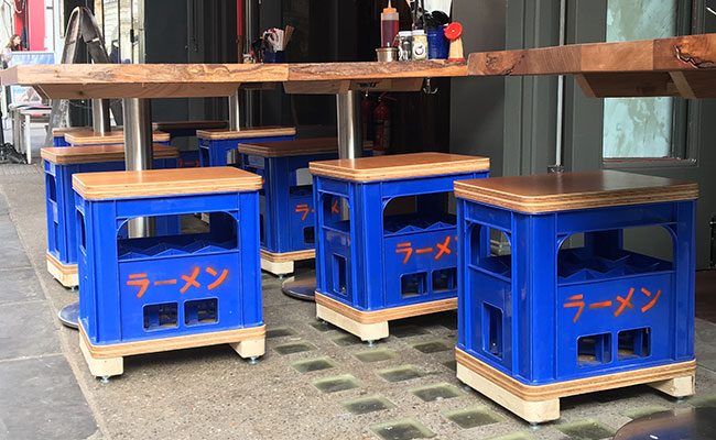 bottle crates used as seating