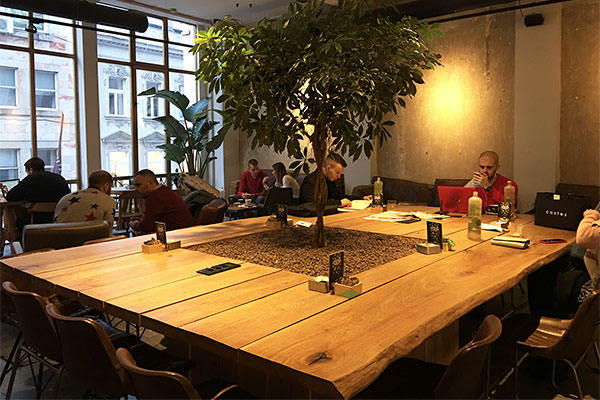 Large communal table, cantered around the tree is perfect space for individual customers to sit with the laptop. Space caters for individuals and large parties.