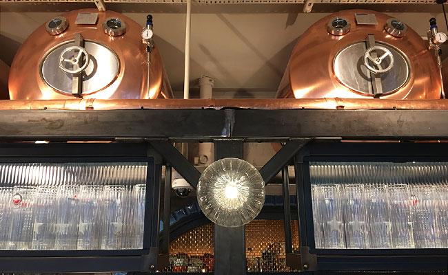 copper beer vats in the pub