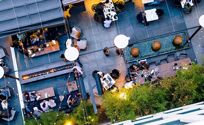 trendy hotel terrace