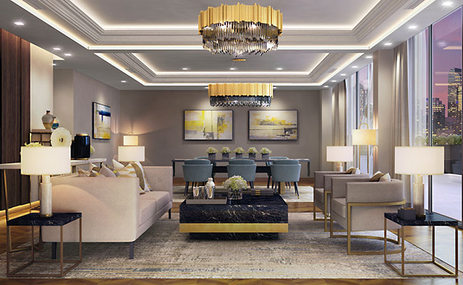 expansive one-bedroom hotel suite is designed as an open space living / dining space