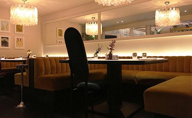 mustard velvet booth seating