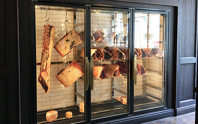 butchers meat display in restaurant