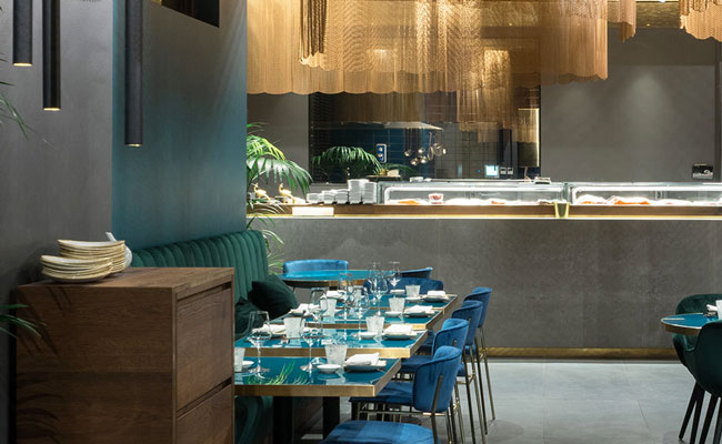 fantastic Asian restaurant designer used blue furniture