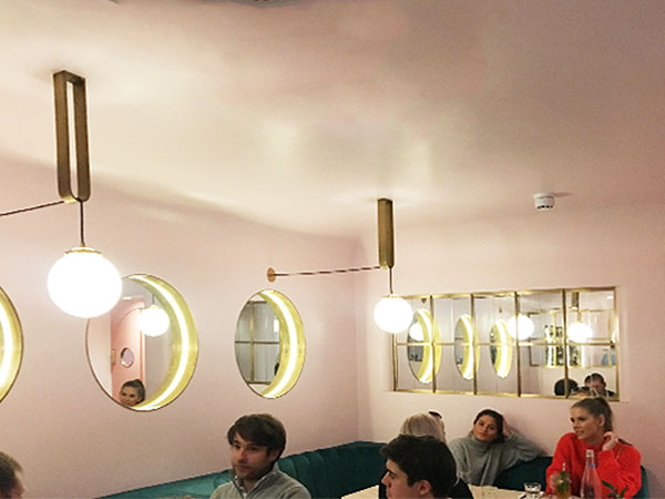 Pink bar design of North Audley Canteen in London