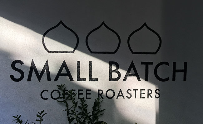small batch coffee wall sign